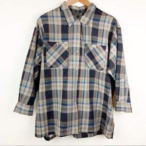 Pendleton Vintage Plaid Button Front Olive Green
